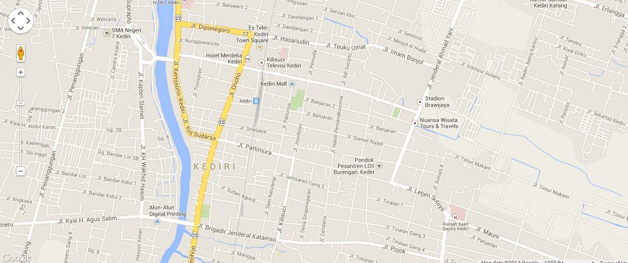Peta Kota Kediri Tempat Wisata 1 Alun Kab