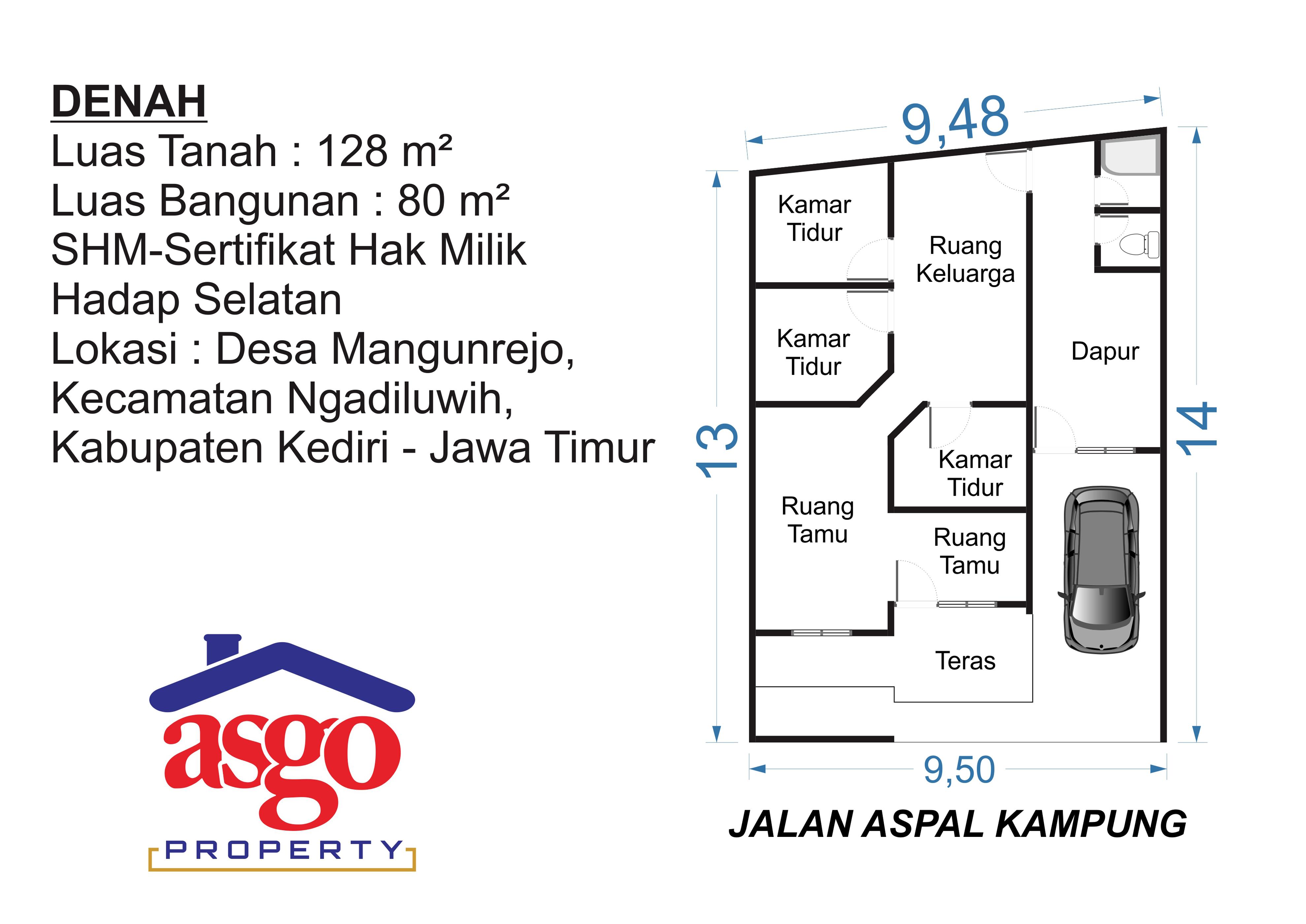 Rumah Dijual 128 M2 Mangunrejo Ngadiluwih Kabupaten Kediri Asgo Layout