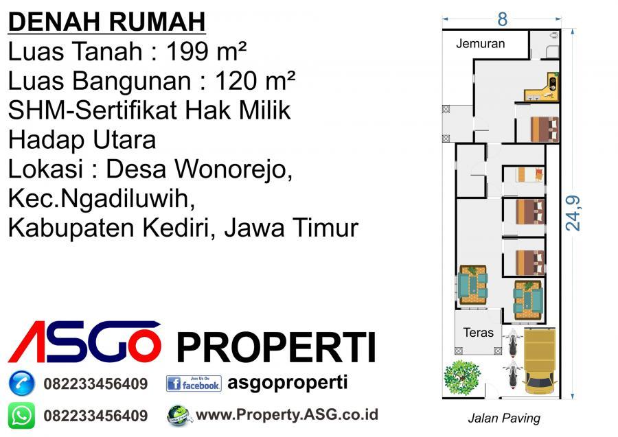 Rumah Dijual 199m2 Wonorejo Ngadiluwih Kabupaten Kediri Kota Lain Alun