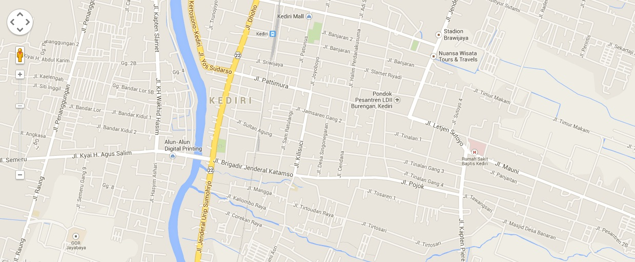 Tempat Wisata Kediri Jawa Peta Kota 3 Alun Kab