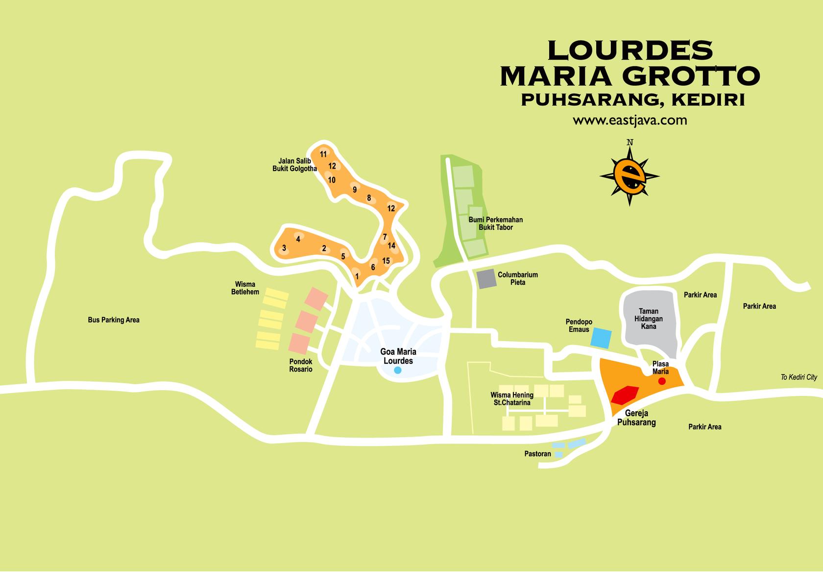 Gereja Pohsarang Gua Maria Lourdes Kediri Jawa Timur Steemit Map