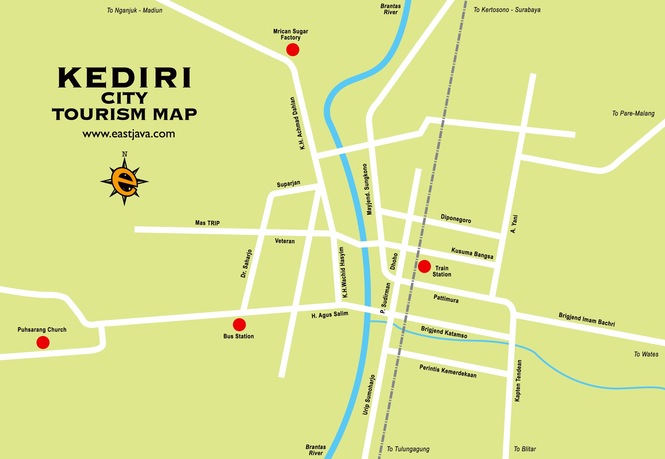 Kediri City Tourism Map Reflection Beauty Nature Presents Google Monumen