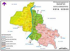 Kota Kediri Wikipedia Bahasa Indonesia Ensiklopedia Bebas Peta Pembagian Administratif