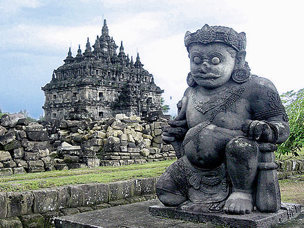 Plaosan Wikiwand Dvarapala Giant Guardian Front Temple Candi Gana Kab