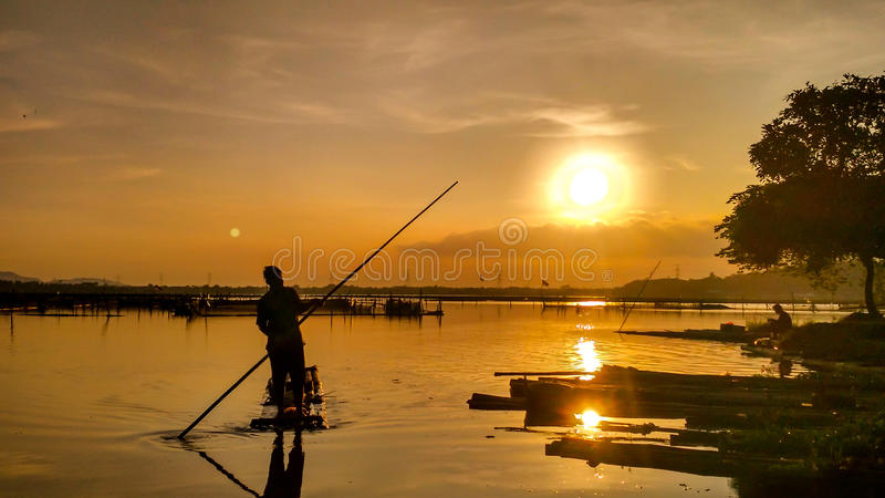 Rowo Jombor Sunset Nelayan Klaten Stock Photo Image Download 92906992