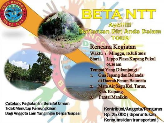 Tour Komunitas Beta Ntt Setiawan Mangando Adapun Tempat Dikunjungi Gua
