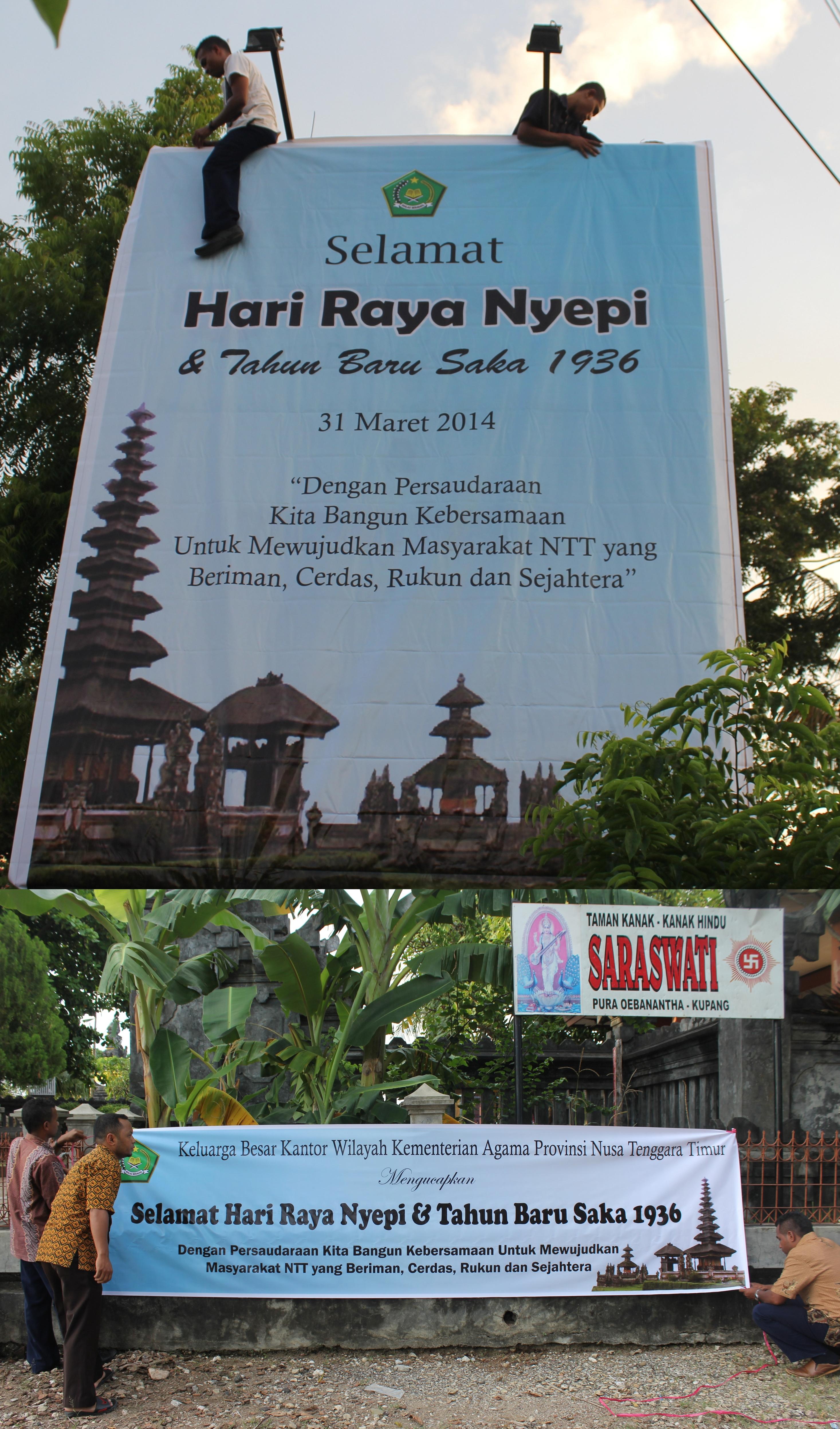 Sambut Nyepi Baliho Spanduk Dipasang Kanwil Kementerian Agama Foto Pura