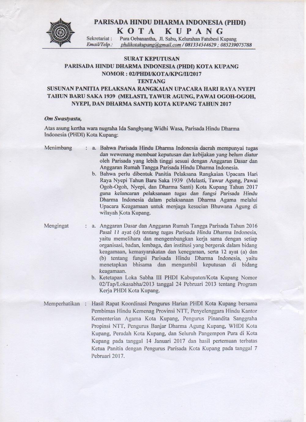 Selamat Datang Hindu Kupang Ntt Panitia Nyepi 2017 Pelaksana Rangkaian