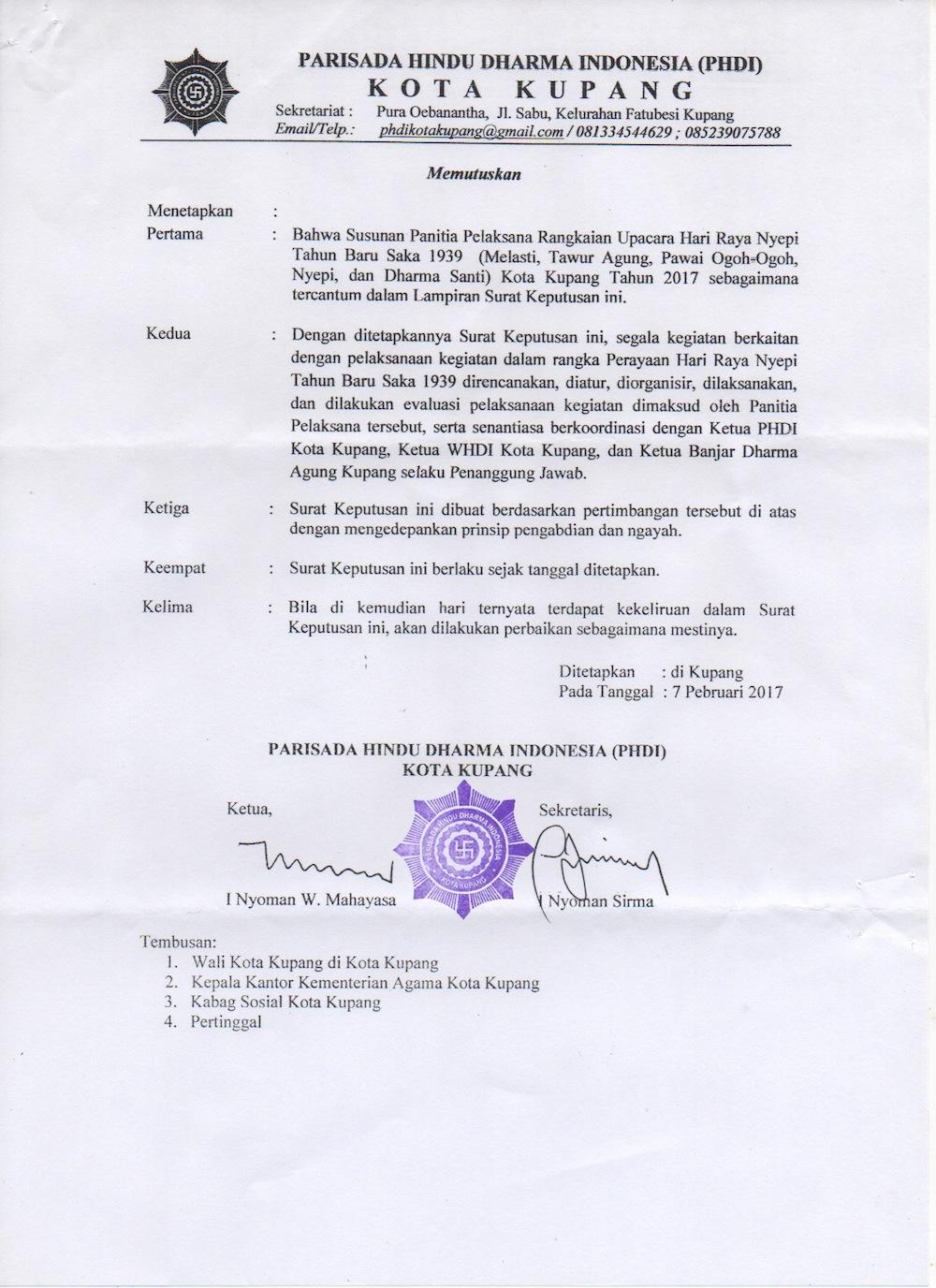 Selamat Datang Hindu Kupang Ntt Panitia Nyepi 2017 Sk 2017a