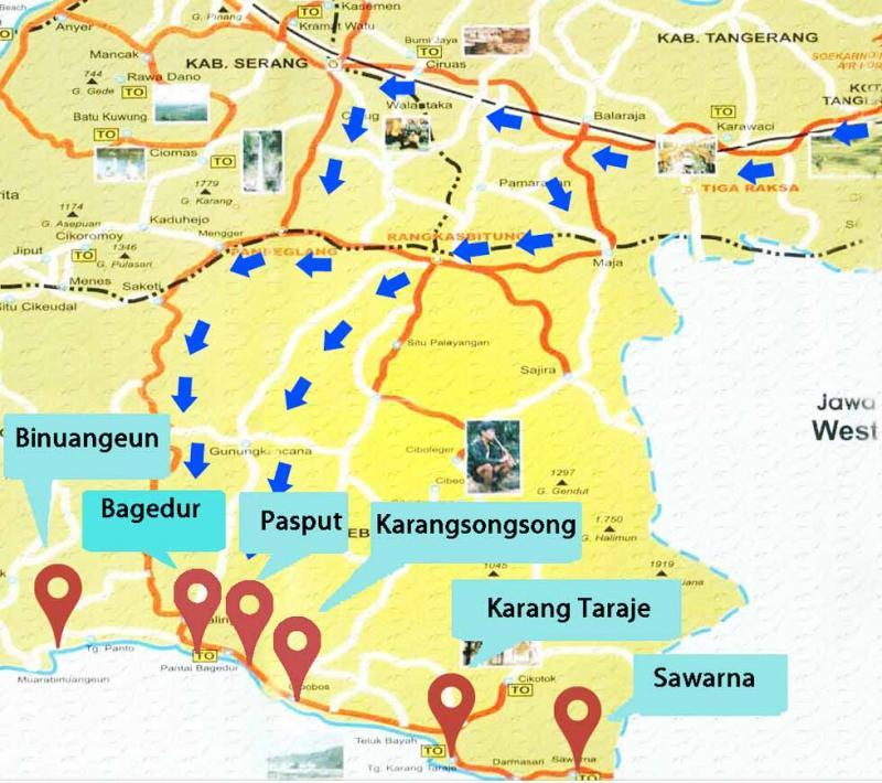 Rute Lokasi Sawarna Pantai Karang Taraje Kab Lebak
