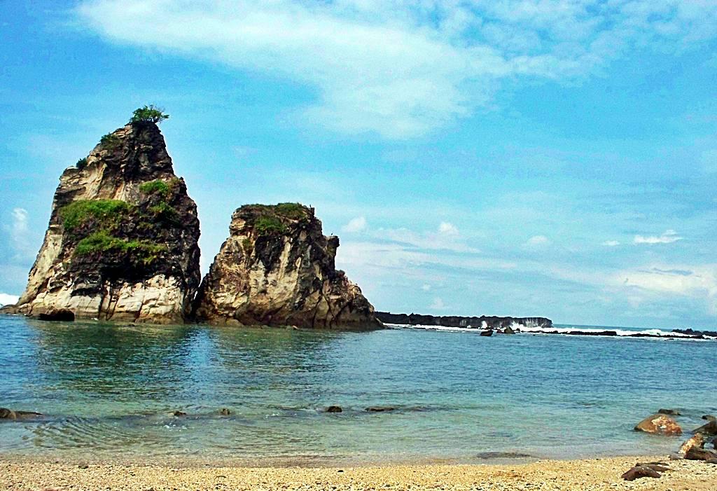 Pemandangan Alami Wisata Pantai Sawarna Banten Tempat Karangsongsong Kab Lebak