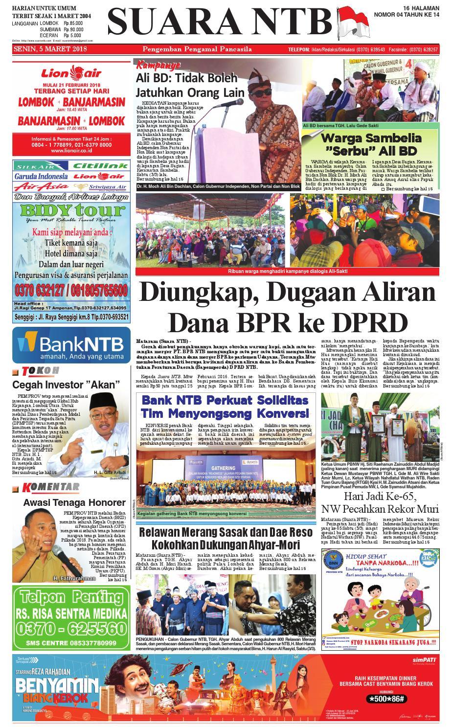 Edisi Senin 05 Maret 2018 Suara Ntb Paper Kmb Issuu