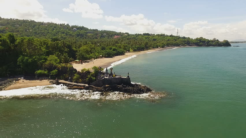 Aerial View Pura Batu Bolong Hindu Temple Lombok Indonesia Circle
