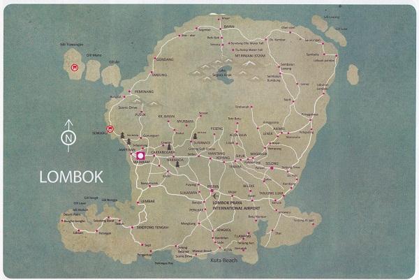 Peta Lokasi Wisata Pulau Lombok Pura Gunung Pengsong Kab Barat