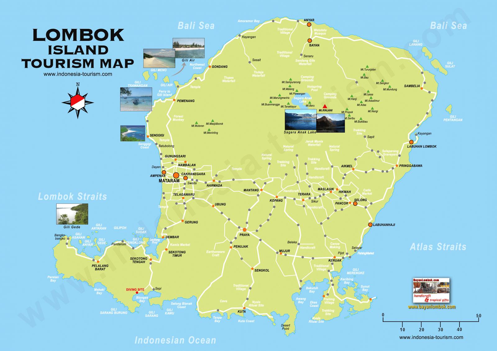 Peta Wisata Lombok Gambaran Umum Tempat Pulau Pura Gunung Pengsong