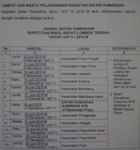 Pemerintah Kabupaten Lombok Tengah Jadwal Lengkap Safari Ramadhan 1437 Bupati