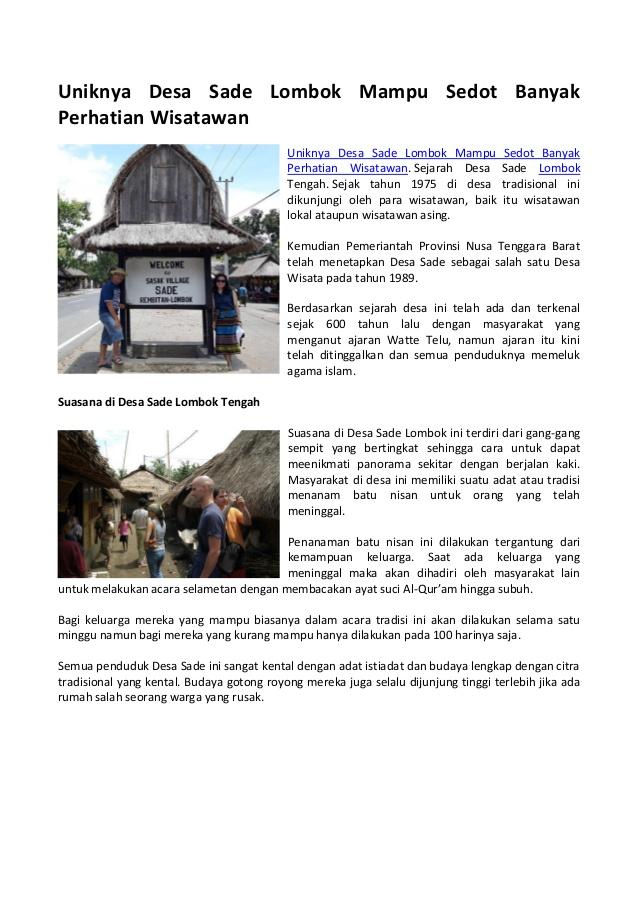 Uniknya Desa Sade Lombok Mampu Sedot Perhatian Wisatawan 1 638