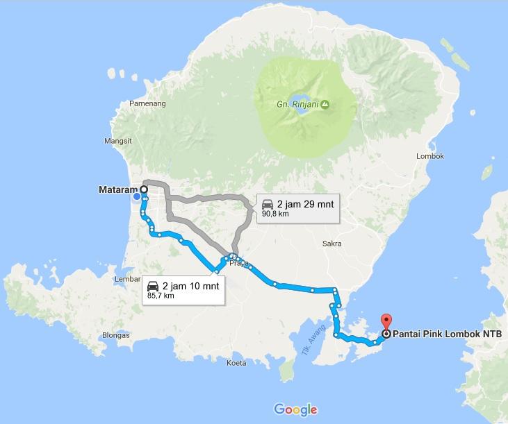 Informasi Lengkap 2 Menuju Pantai Pink Lombok Timur Beach Jarak