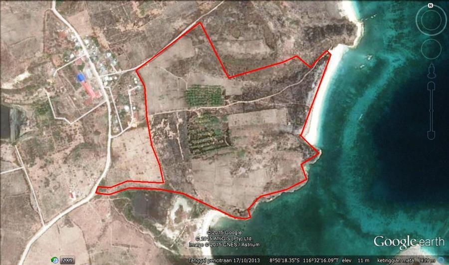 Tanah Dijual 10 89 Hektar Pantai Pink Telone Lombok Rumah