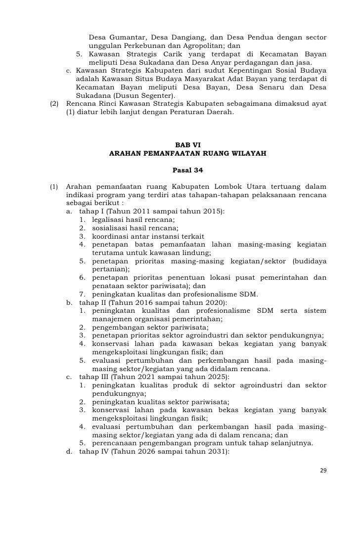 Rencana Tata Ruang Wilayah Kabupaten Lombok Utara Desa Gumantar Kab