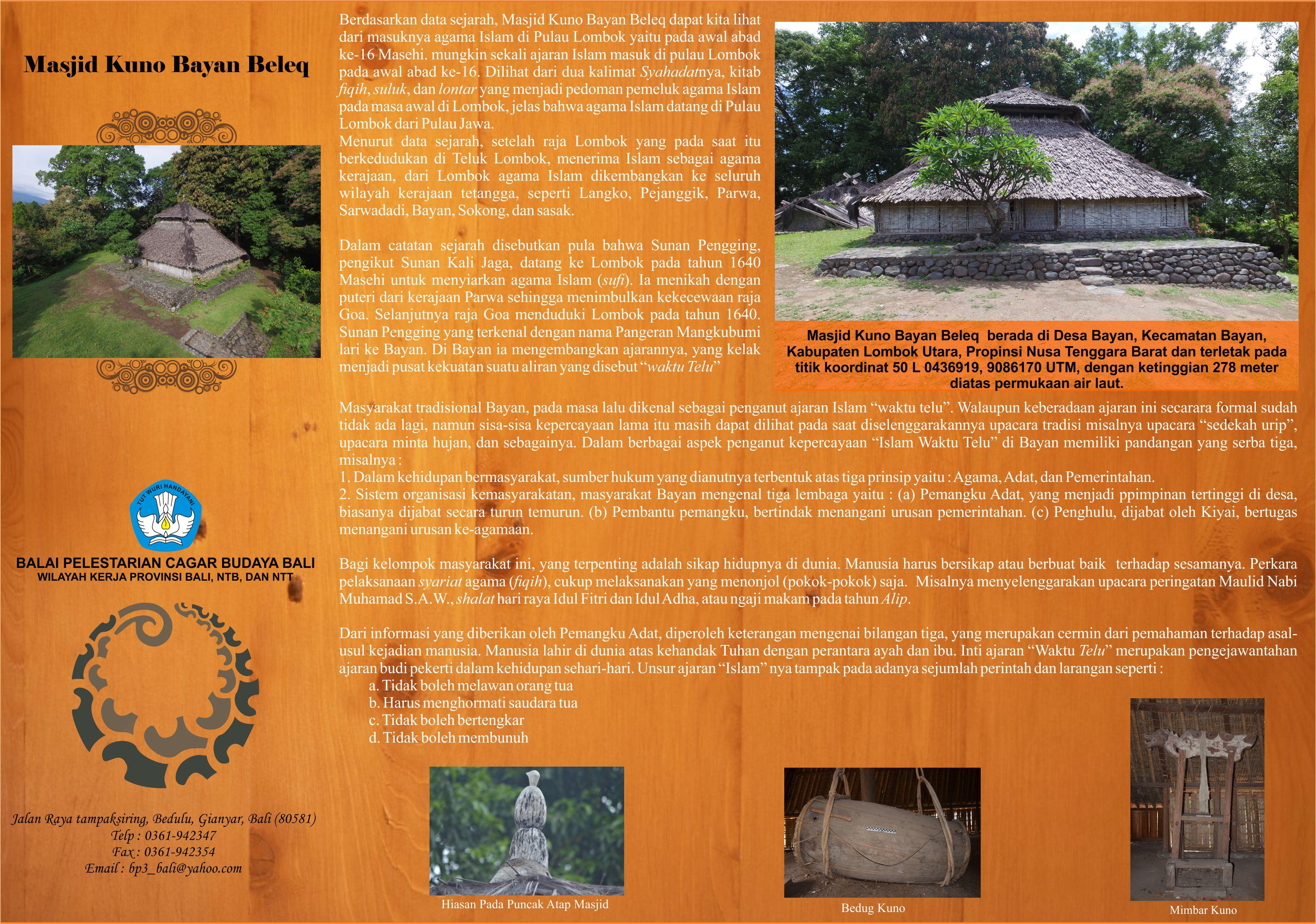 Brosur Masjid Bayan Beleq Depan Balai Pelestarian Cagar Budaya Bali