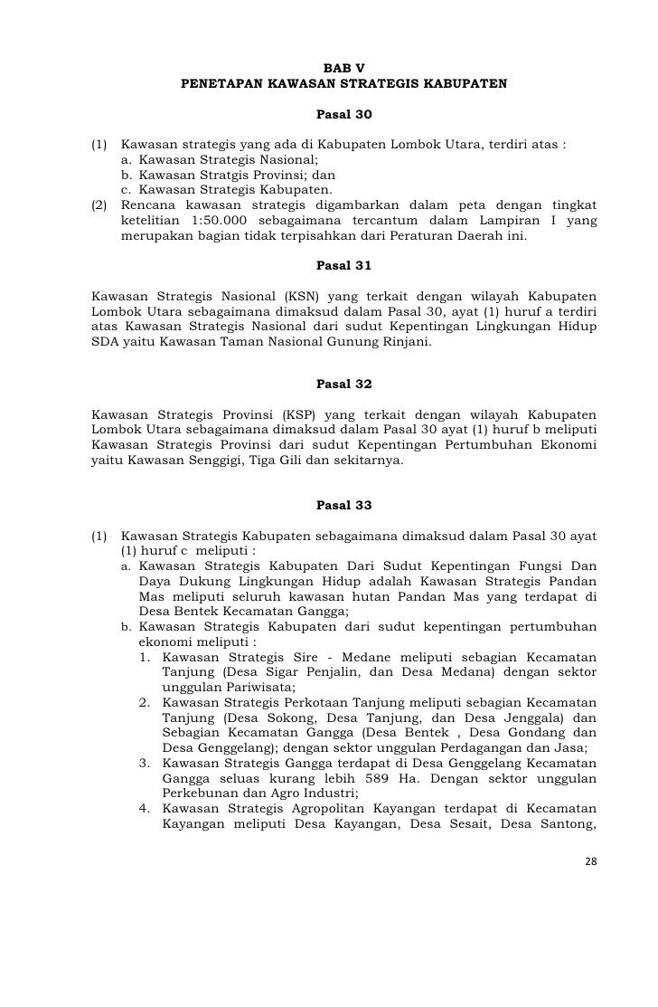 Rencana Tata Ruang Wilayah Kabupaten Lombok Utara 27 28 Pantai