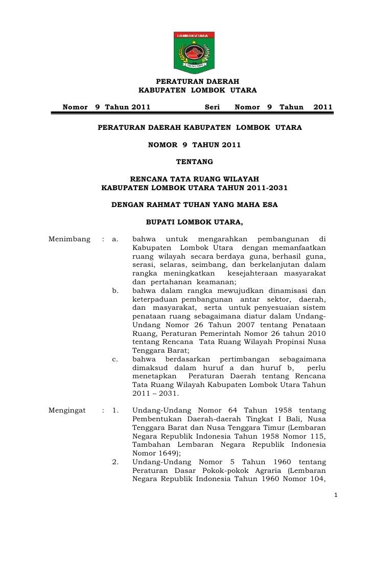 Rencana Tata Ruang Wilayah Kabupaten Lombok Utara Peraturan Daerah Nomor
