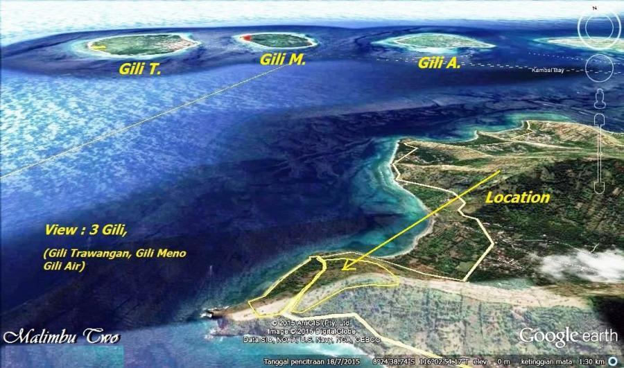 Tanah Dijual Pinggir Pantai Malimbu 2 Full View 3 Gili
