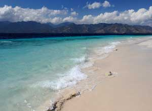Gili Meno Islands Popular Stretch Sand Left Boats Pull Beach