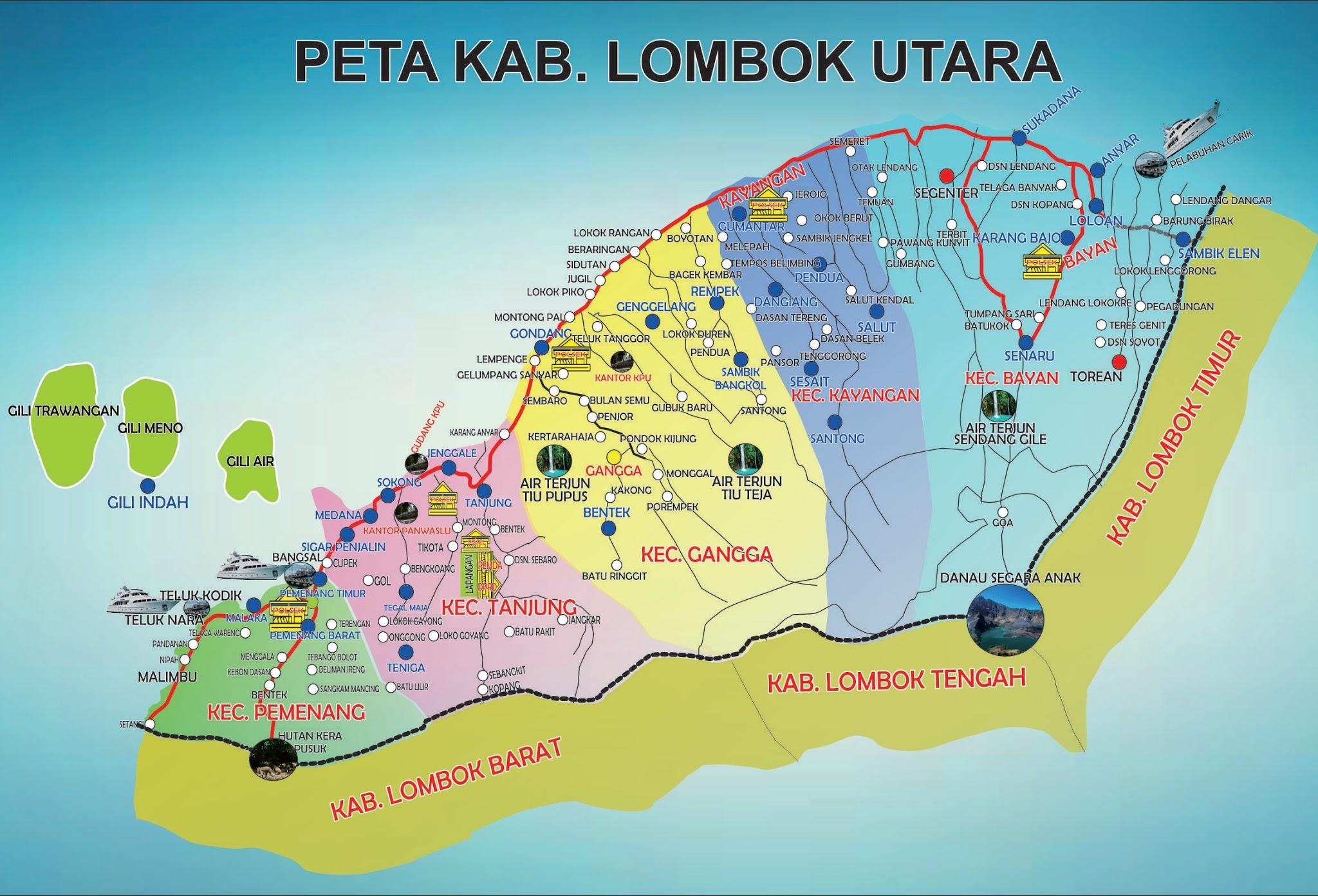 Peta Kota Kabupaten Lombok Utara Klu Pulau Gili Air Kab