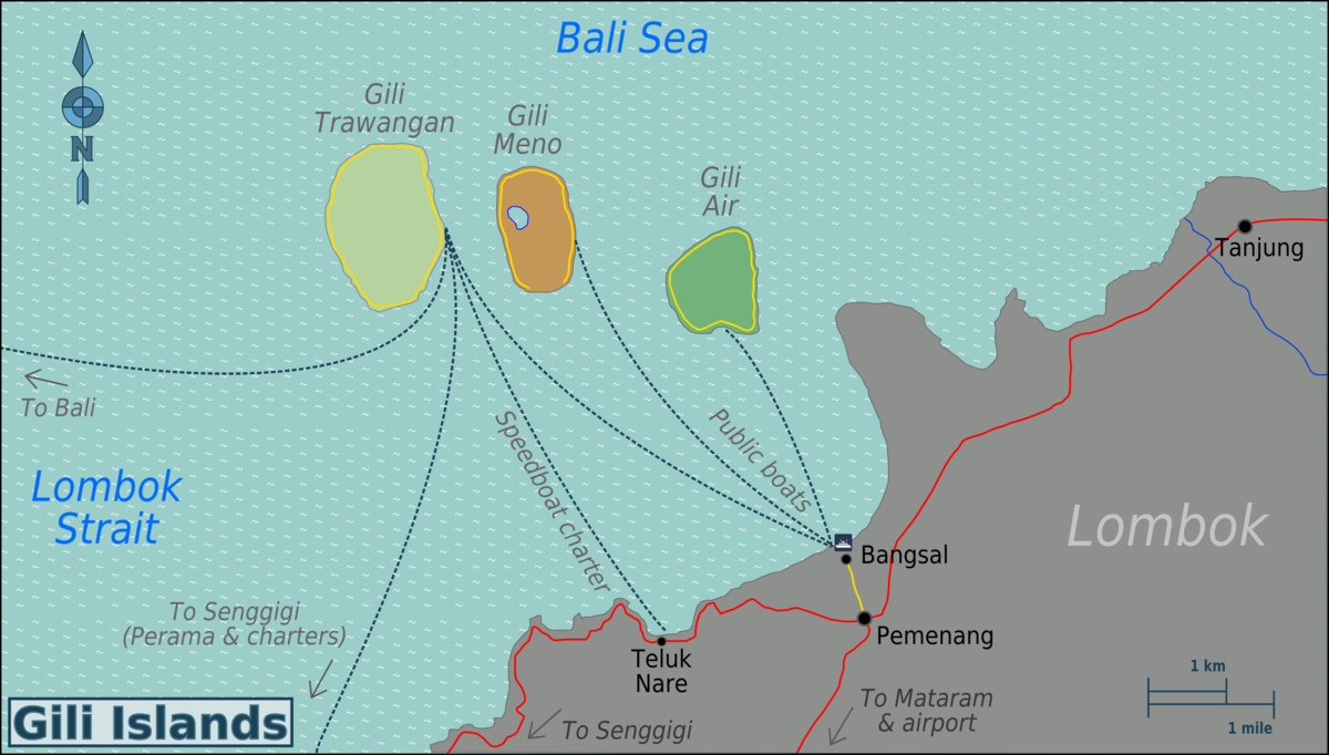 Gili Islands Wikipedia Pulau Trawangan Kab Lombok Utara