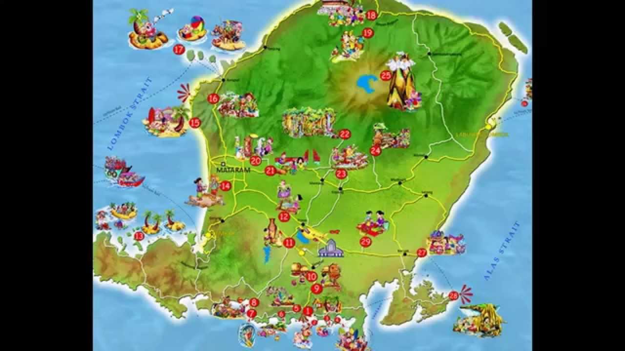 Peta Lombok Map Gili Trawangan Air Meno Youtube Pulau Kab