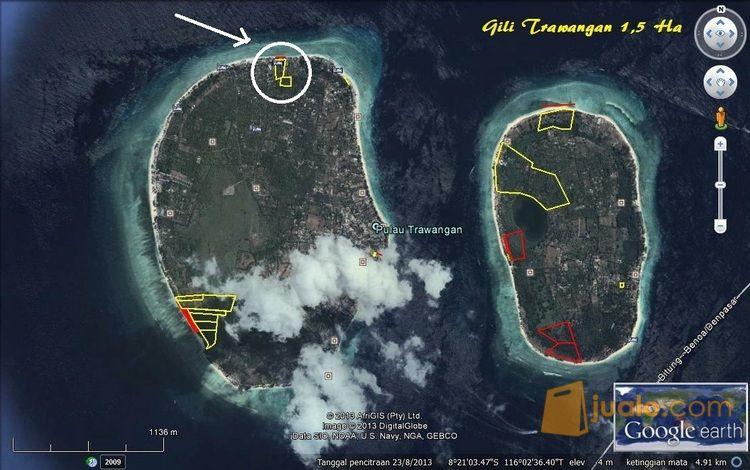 Tanah Murah Strategis Pinggir Pantai Wisata Gili Trawangan Lombok Ntb