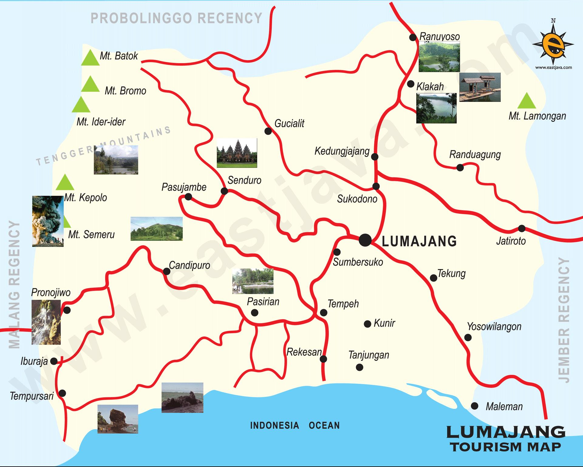 Peta Kabupaten Kota Lumajang Google Map Pantai Bambang Kab