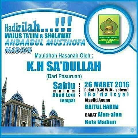 Jadwalmajelis 26 Maret Masjid Agung Baitul Hakim Kota Madiun Mauidhoh