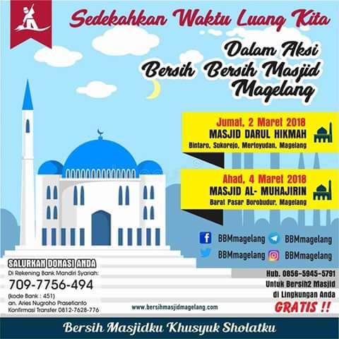 Bergabunglah Aksi Bersih Masjid Al Muhajirin Barat Pasar Borobudur Kabupaten