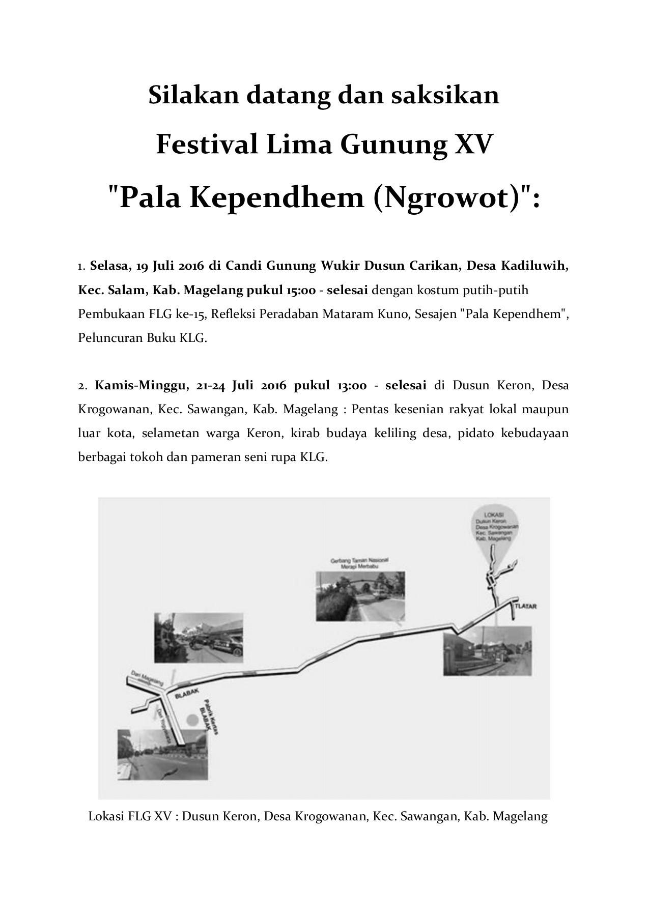 Undangan Festival Lima Gunung Xv Pages 1 6 Text Version