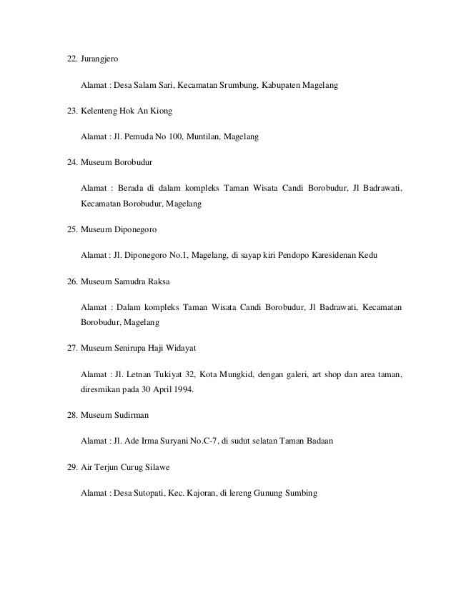 Daftar Tempat Objek Wisata Magelang Jawa Tengah Kecamatan Grabag Kabupaten