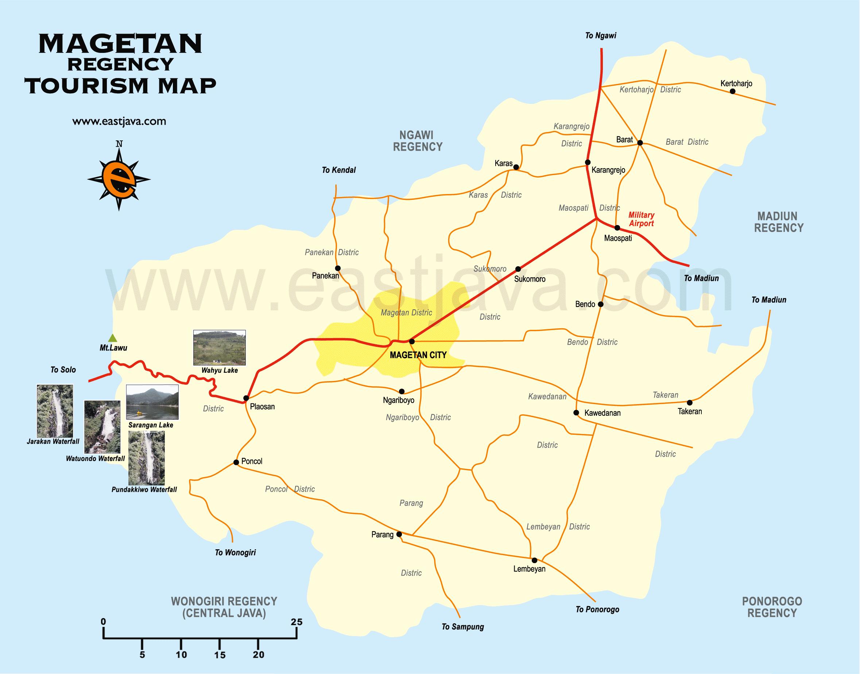 Magetan Tourism Map Peta Google Candi Sadon Kab