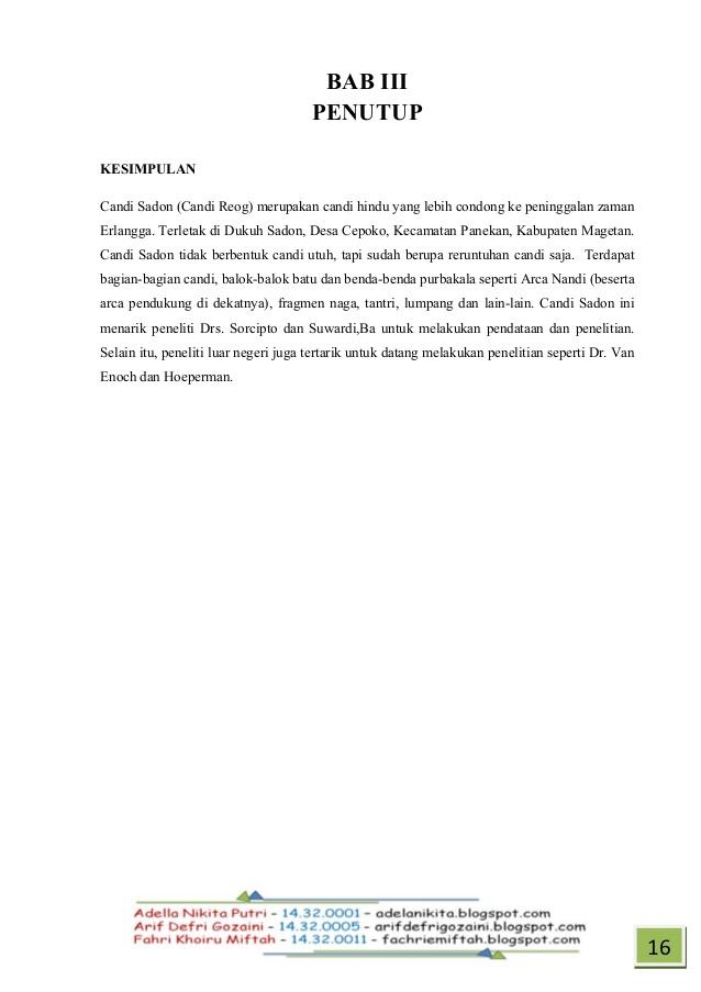 Tugas Candi Sadon Buku Sejarah 15 19 Kab Magetan