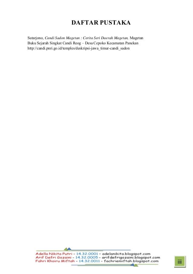 Tugas Candi Sadon Daftar Pustaka 16 20 Tarjono Magetan Kab