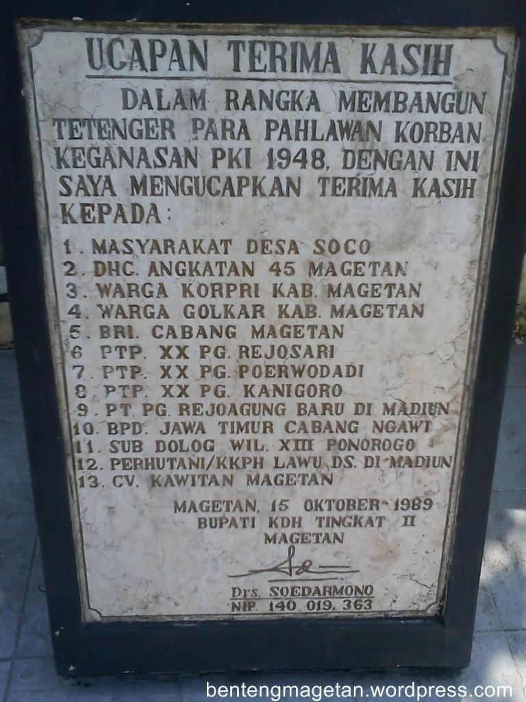 Monumen Soco4 Benteng Magetan Soco Kab