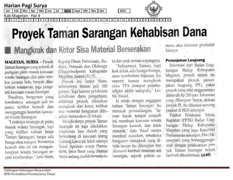 Proyek Taman Sarangan Magetan Kehabisan Dana Bpk Perwakilan 01 08