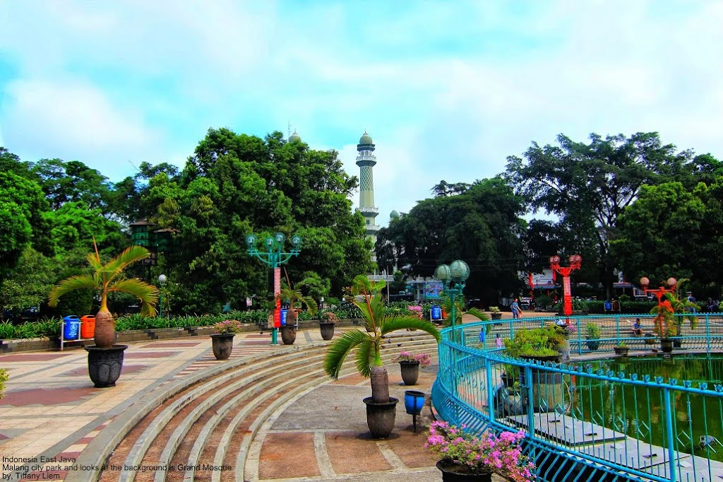 Malang City Square Alun Kota Background Grand Mosque Kab