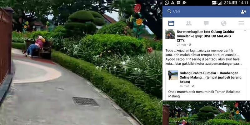 Waduh Netizen Digegerkan Aksi Mesum Alun Tugu Kota Malang Balai