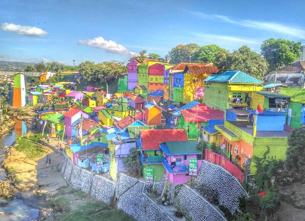 Bertujuh Kampung Warna Warni Jodipan Malang Tampak Atas Kab