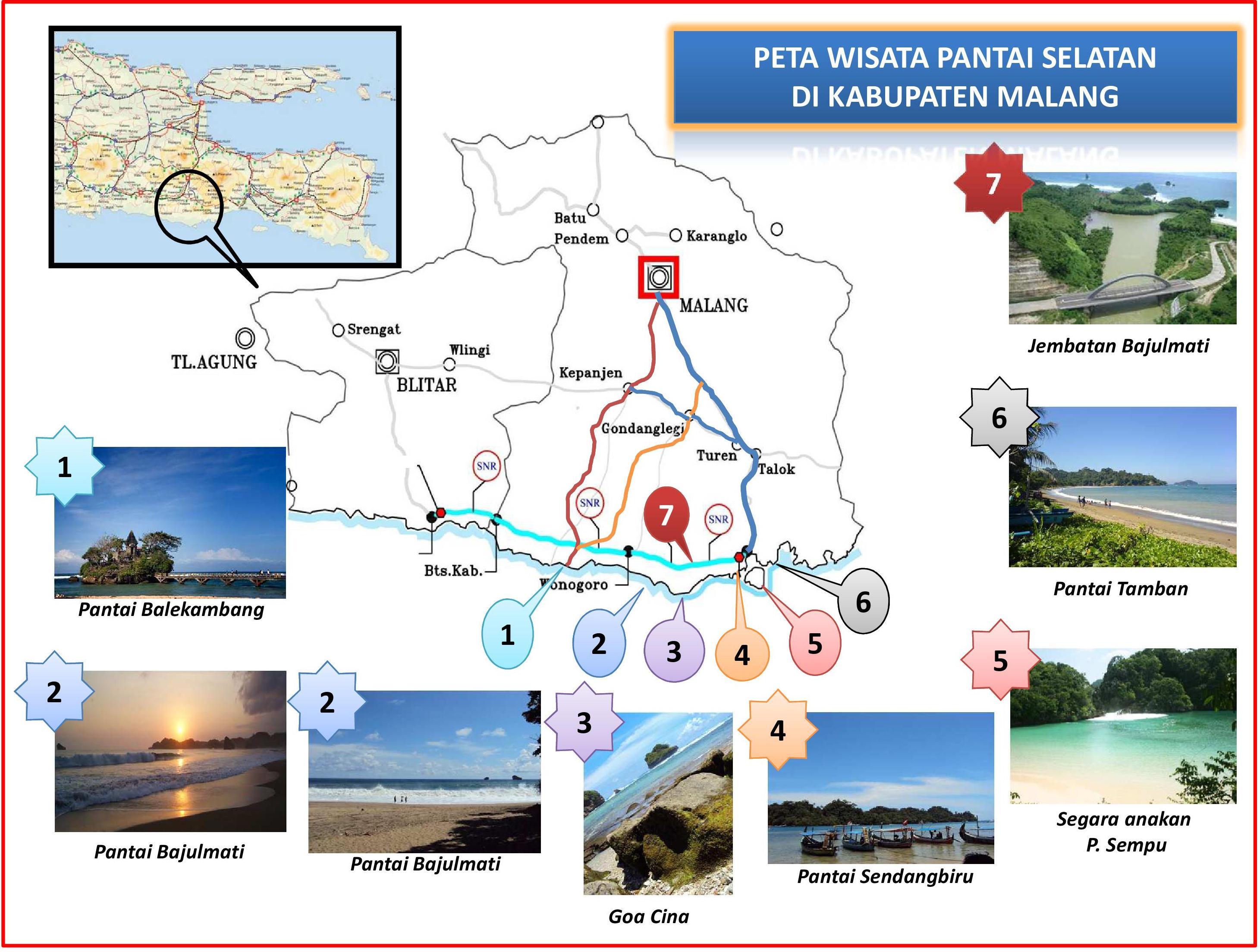 Informasi Liburan Pantai Kabupaten Malang Candrazr Peta Wisata Balekambang Kab