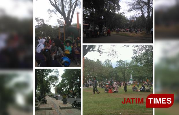 Peristiwa Taman Kota Malang Dipadati Pengunjung Times Suasana Alun Merdeka