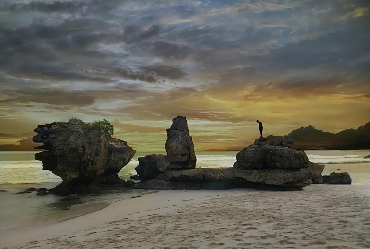 Teluk Bidadari Pantai Rante Melewati Mbehi Malang Selok Kab
