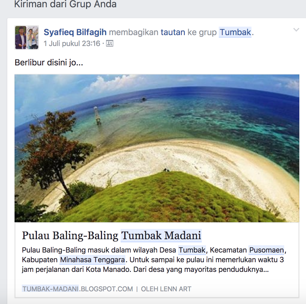 Tumbak Madani Facebook Desa Berikut Share Screan Shot Status Fb